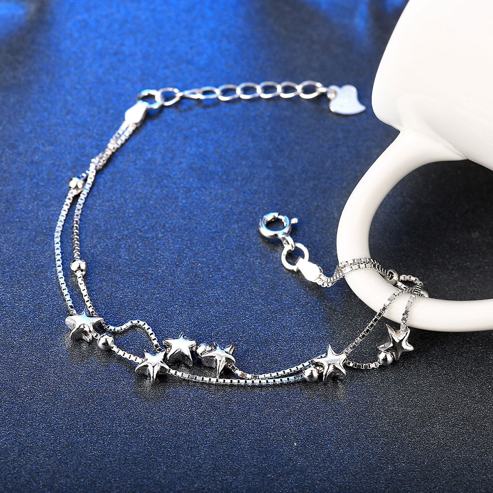 Shooting Stars Strands Sterling Silver Bracelet
