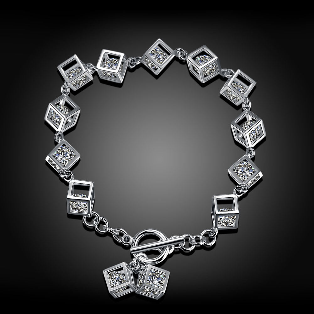 Sterling Silver 10.00 CT Crystals RUBIX CUBE Bracelet