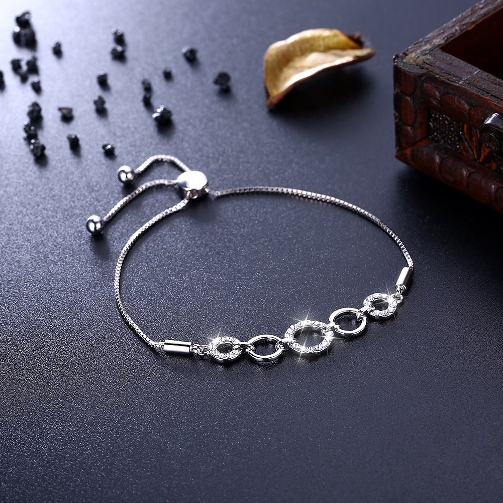 4 Circle Pave Sterling Silver Bracelet, Bracelet, Golden NYC Jewelry, Golden NYC Jewelry  jewelryjewelry deals, swarovski crystal jewelry, groupon jewelry,, jewelry for mom,