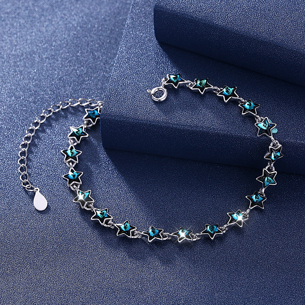A SKY FULL OF STARS - 5.00 CT Bermuda Blue Swarovski Crystals Sterling Silver Bracelet, Bracelet, Golden NYC Jewelry, Golden NYC Jewelry  jewelryjewelry deals, swarovski crystal jewelry, groupon jewelry,, jewelry for mom,