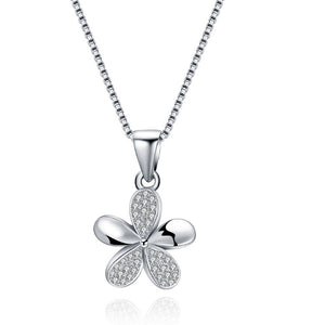 Sterling Silver Pa've Petals Pendant Necklace - Golden NYC Jewelry www.goldennycjewelry.com fashion jewelry for women