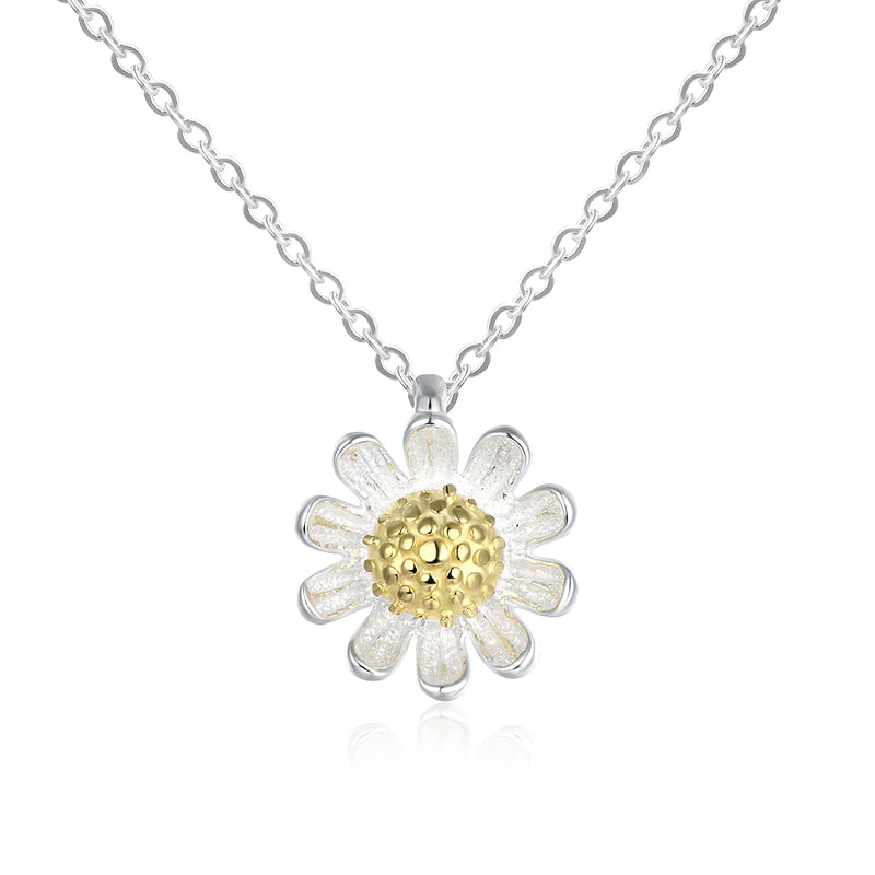 Sterling Silver Daisy Flower Necklace