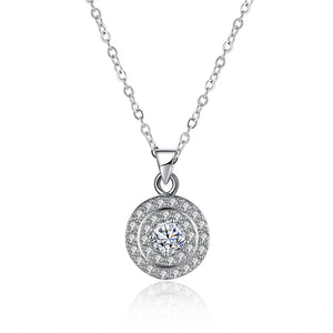 .925 Sterling Silver Micro-Pav'e Circular Halo Pendant Necklace with Swarovski Elements, , Golden NYC Jewelry, Golden NYC Jewelry  jewelryjewelry deals, swarovski crystal jewelry, groupon jewelry,, jewelry for mom,