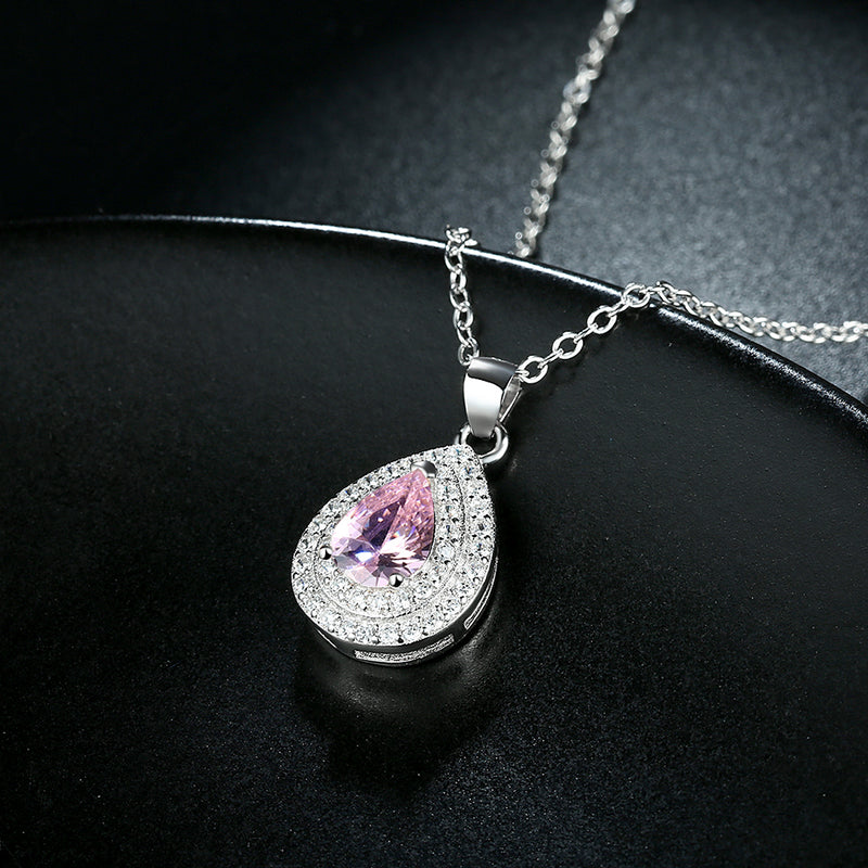 Pink Sapphire Swarovski Elements Teardrop Necklace, , Golden NYC Jewelry, Golden NYC Jewelry fashion jewelry, cheap jewelry, jewelry for mom,