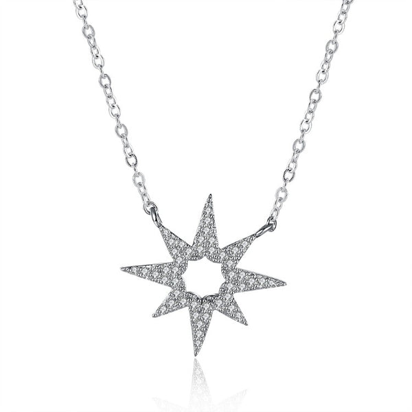 Swarovski Elements Pav'e Star Shaped Sterling Silver Necklace - Golden NYC Jewelry www.goldennycjewelry.com fashion jewelry for women