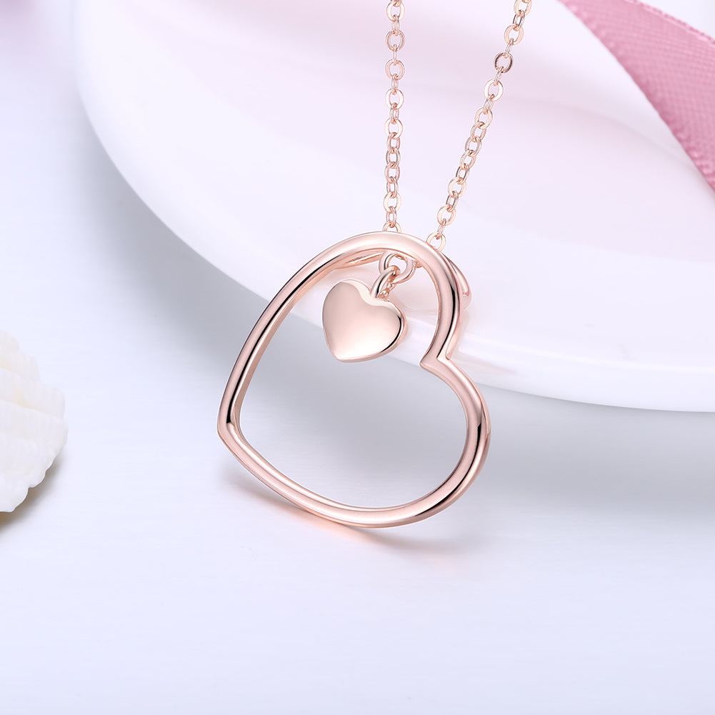 14K Rose Gold over Sterling Silver Heart \Necklace, Necklaces, Golden NYC Jewelry, Golden NYC Jewelry  jewelryjewelry deals, swarovski crystal jewelry, groupon jewelry,, jewelry for mom,