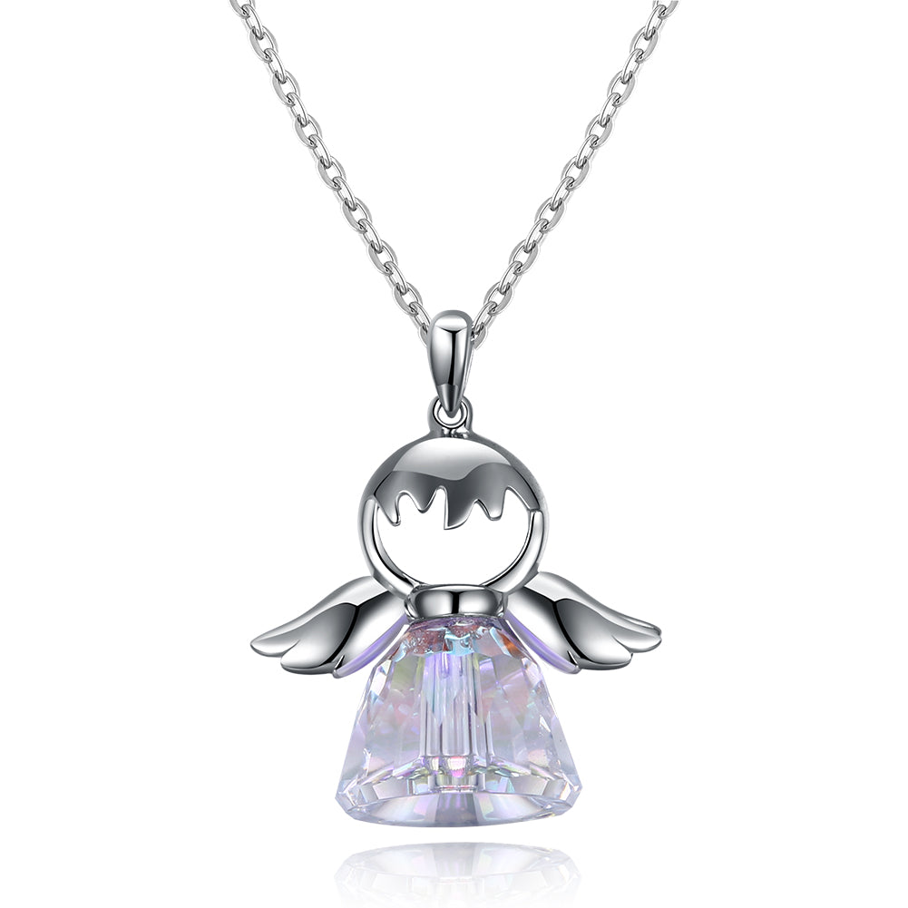 Aurora Borealis Sterling Silver Angel Necklace, Necklaces, Golden NYC Jewelry, Golden NYC Jewelry  jewelryjewelry deals, swarovski crystal jewelry, groupon jewelry,, jewelry for mom,