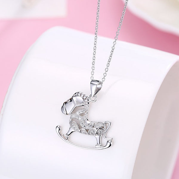 Swarovski Crystal 18K White Gold over Sterling Silver Rocking Horse Necklace - Golden NYC Jewelry www.goldennycjewelry.com fashion jewelry for women