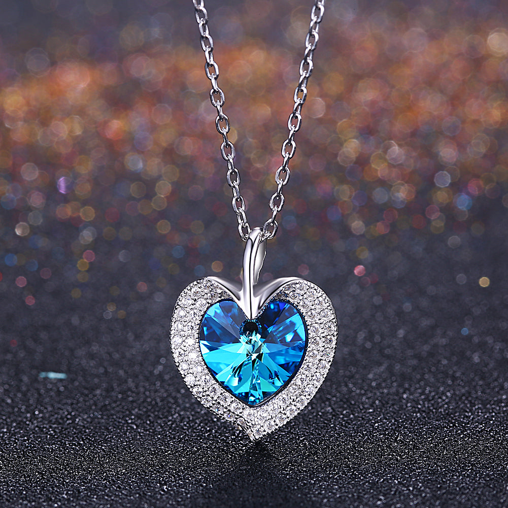 Bermuda Blue Swarovski Crystals Sterling Silver Pave Heart Necklace, Necklaces, Golden NYC Jewelry, Golden NYC Jewelry  jewelryjewelry deals, swarovski crystal jewelry, groupon jewelry,, jewelry for mom,