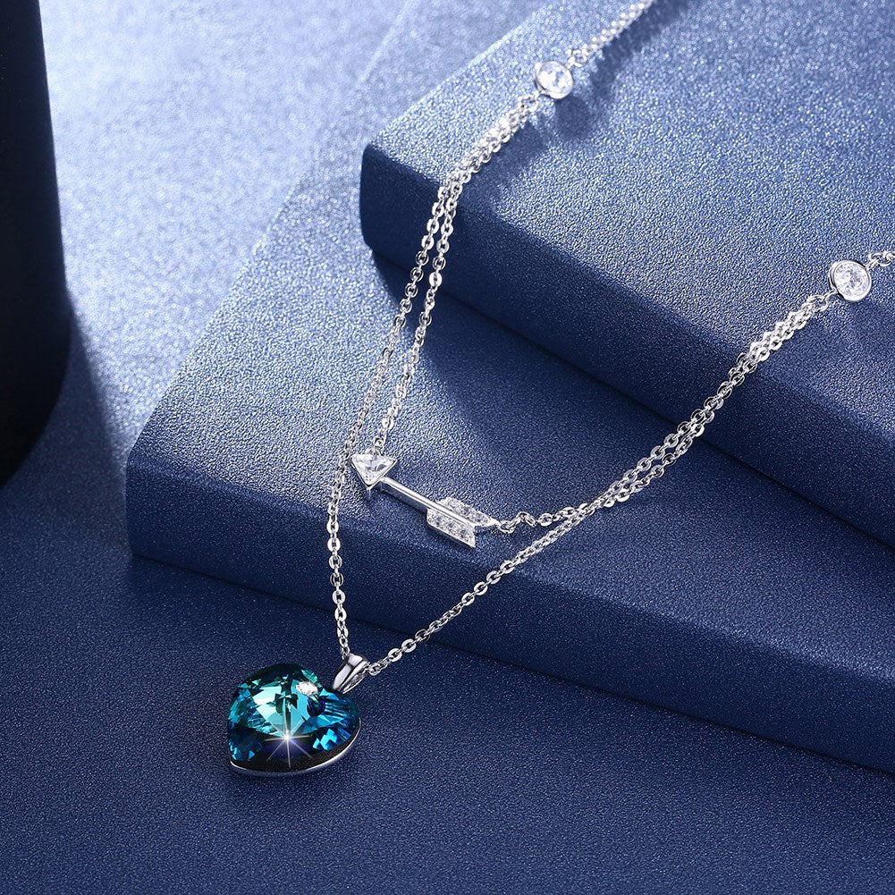 Bermuda Blue Swarovski Crystals Sterling Silver Pave Double Layer Heart Necklace, Necklaces, Golden NYC Jewelry, Golden NYC Jewelry  jewelryjewelry deals, swarovski crystal jewelry, groupon jewelry,, jewelry for mom,