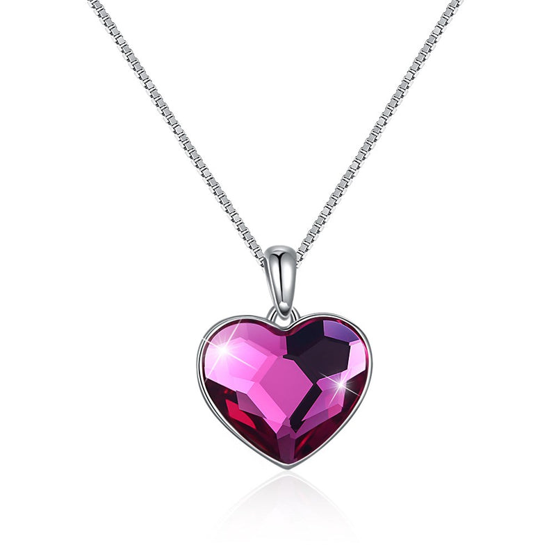 Pink Topaz Sterling Silver Austrian Crystal Heart Necklace