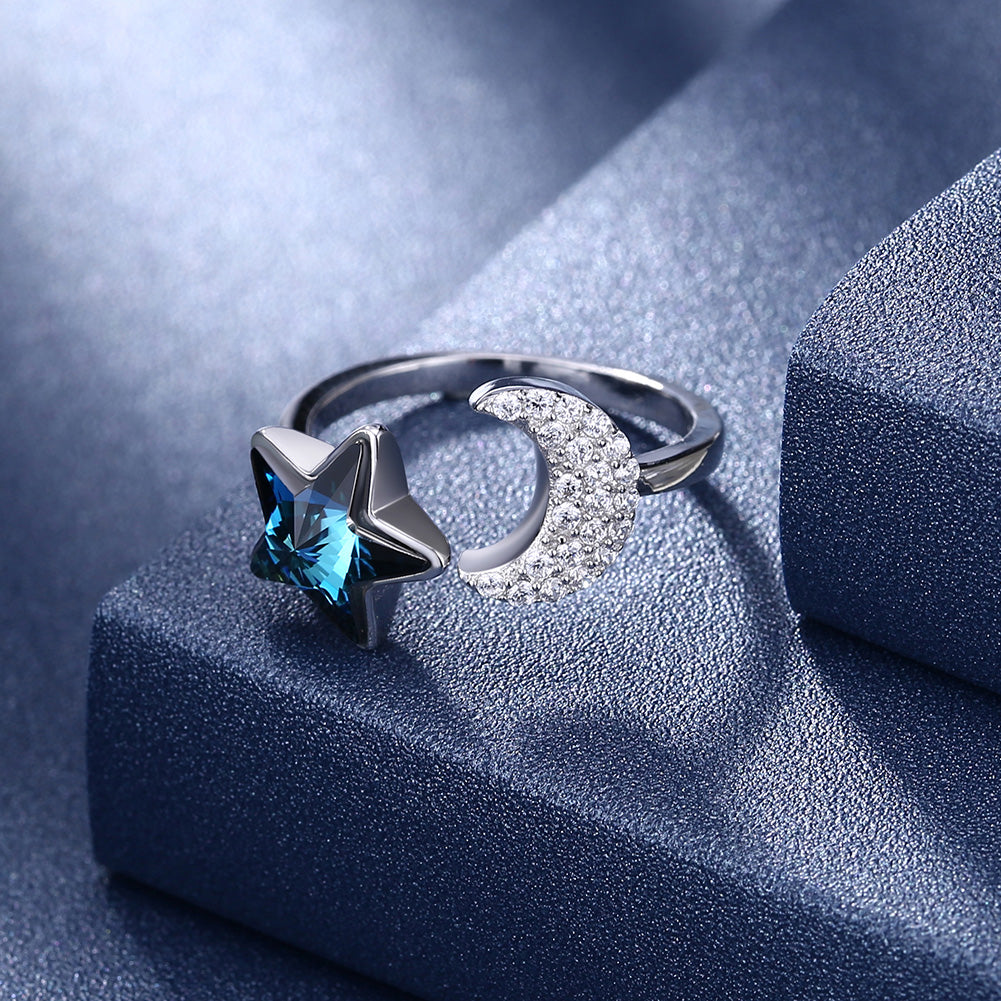 Sterling Silver Blue Swarovski & Moon Adjustable Ring
