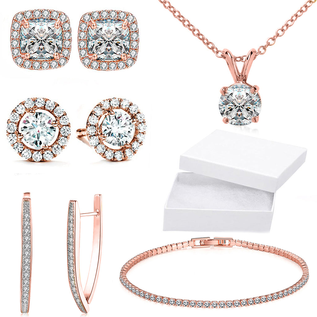 10Ct Tennis Bracelet + Halo Earring+ Necklace With Crystals - 5 Piece Set with Luxe Box - 18K Rose Gold