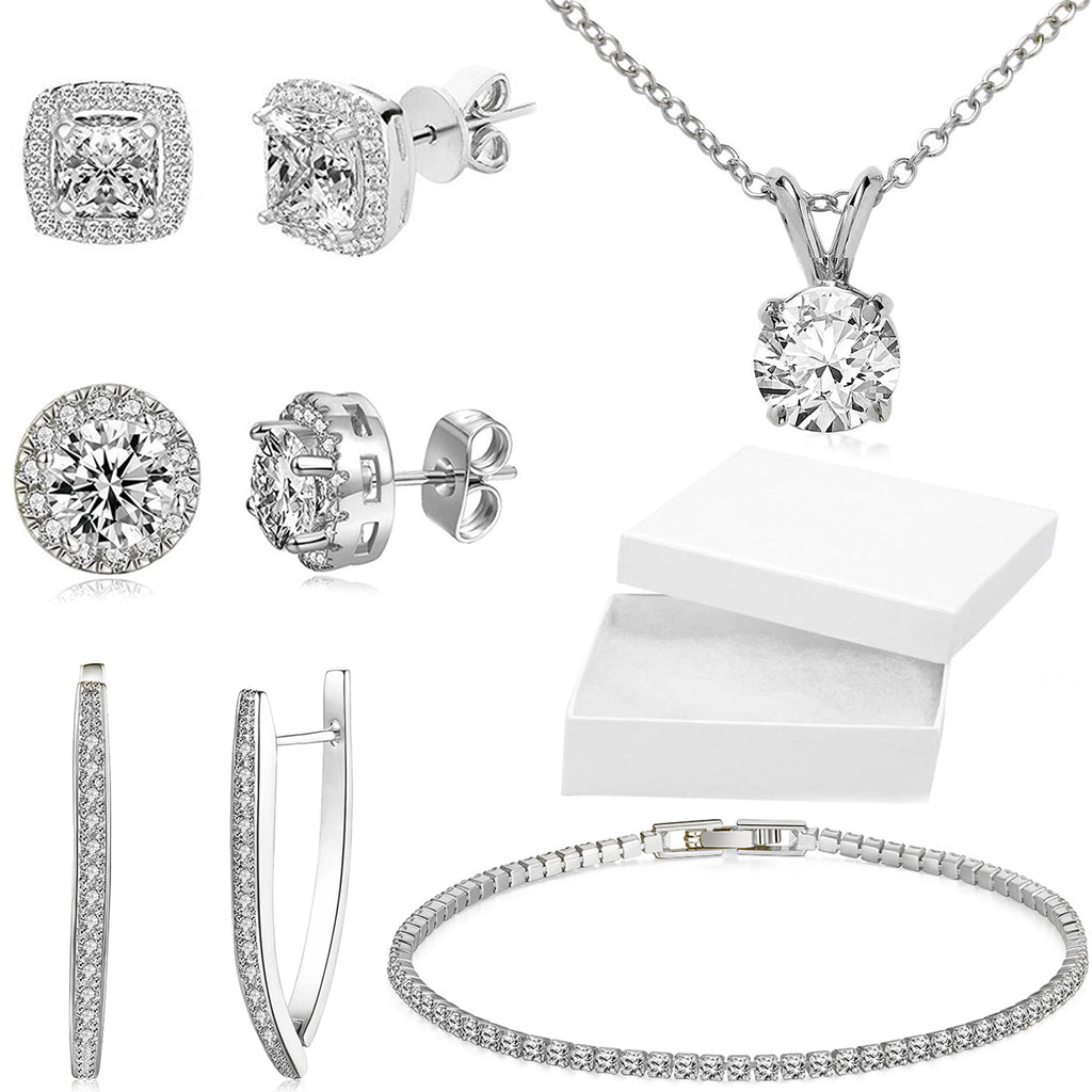 10Ct Tennis Bracelet + Halo Earring+ Necklace With  Crystals - 5 Piece Set with Luxe Box - 18K White Gold