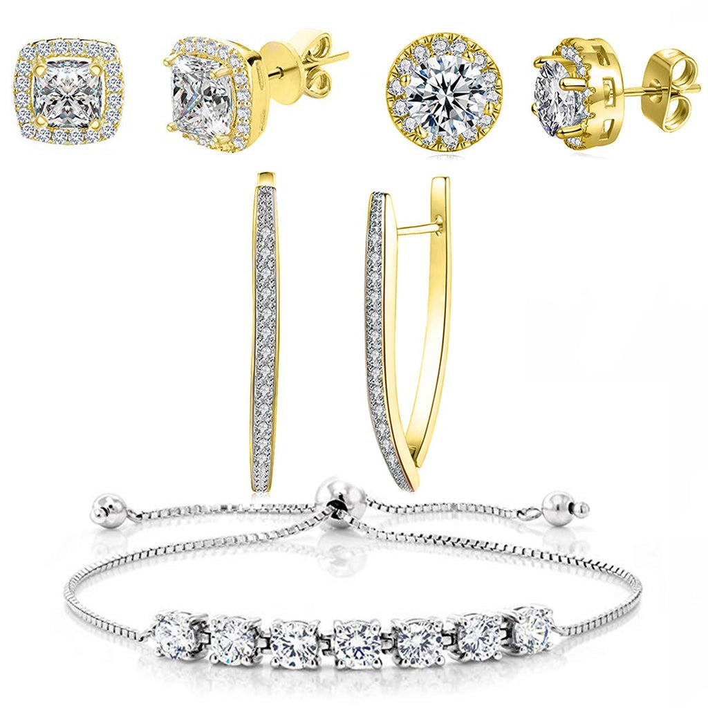 4 Piece Set: Halo Earrings Hoop and Bracelet with Gift Box