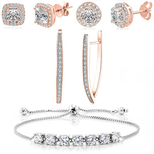 4 Piece Halo Set With Crystals 18K Rose Gold Plated Set in 18K Rose Gold Plated