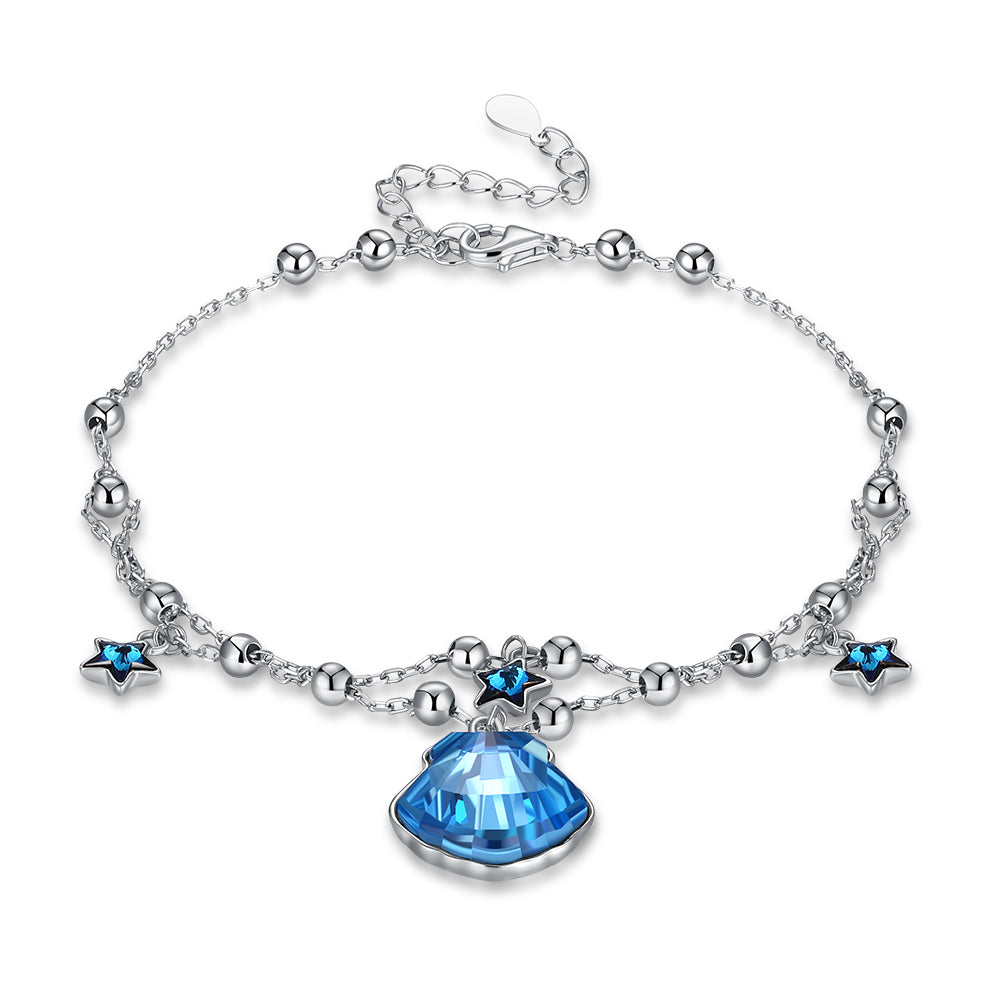 Lady in Blue Swarovski Crystals Sterling Silver Bracelet
