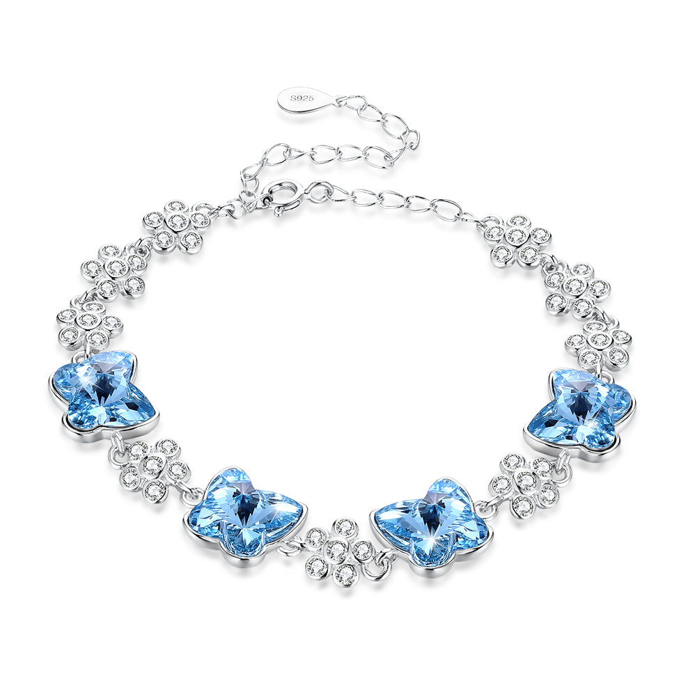 Bermuda Blue Swarovski Crystals Sterling Silver Butterfly Bracelet, Bracelet, Golden NYC Jewelry, Golden NYC Jewelry  jewelryjewelry deals, swarovski crystal jewelry, groupon jewelry,, jewelry for mom,