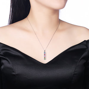 Rainbow Drop Bar Sterling Silver Swarovski Crystal Necklace