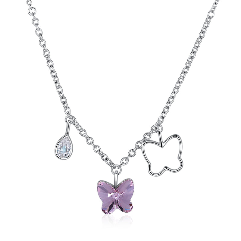 Pink Butterfly Stone Sterling Silver Swarovski Crystal Necklace