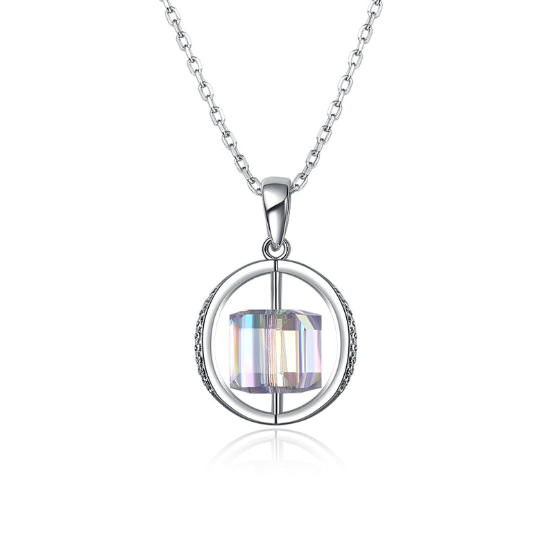 2.00 CT Aurora Borealis Swarovski Crystals Sterling Silver Flying Spinning Cube Necklace, Necklaces, Golden NYC Jewelry, Golden NYC Jewelry  jewelryjewelry deals, swarovski crystal jewelry, groupon jewelry,, jewelry for mom,