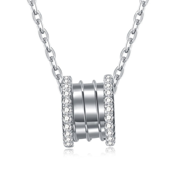 Swarovski Crystal 18K White Gold over Sterling Silver Pave Edges Necklace - Golden NYC Jewelry www.goldennycjewelry.com fashion jewelry for women