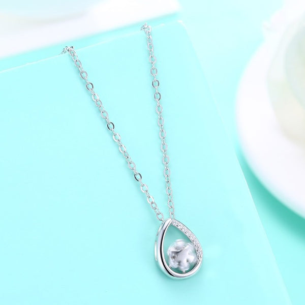 Swarovski Crystal 18K White Gold over Sterling Silver Teardrop Necklace - Golden NYC Jewelry www.goldennycjewelry.com fashion jewelry for women