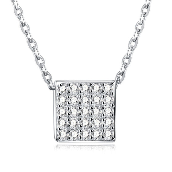 Swarovski Crystal 18K White Gold over Sterling Silver Pave Rectangle Necklace - Golden NYC Jewelry www.goldennycjewelry.com fashion jewelry for women