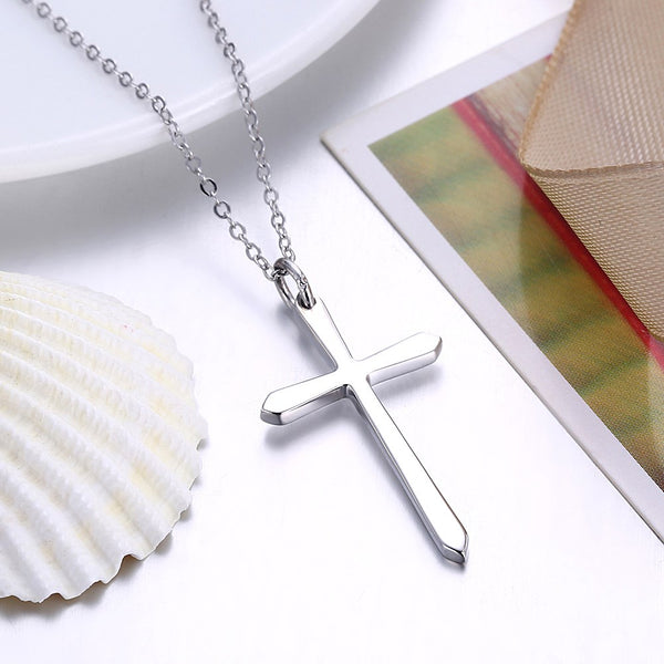 Sterling Silver Classic Unisex Cross Necklace