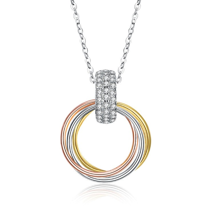 Swarovski Crystal Circle of Life Triple Rings Sterling Silver Necklace - Golden NYC Jewelry www.goldennycjewelry.com fashion jewelry for women