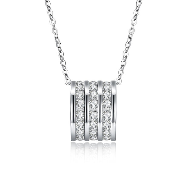 Swarovski Crystal 18K White Gold over Sterling Silver Triple Pave B Necklace - Golden NYC Jewelry www.goldennycjewelry.com fashion jewelry for women