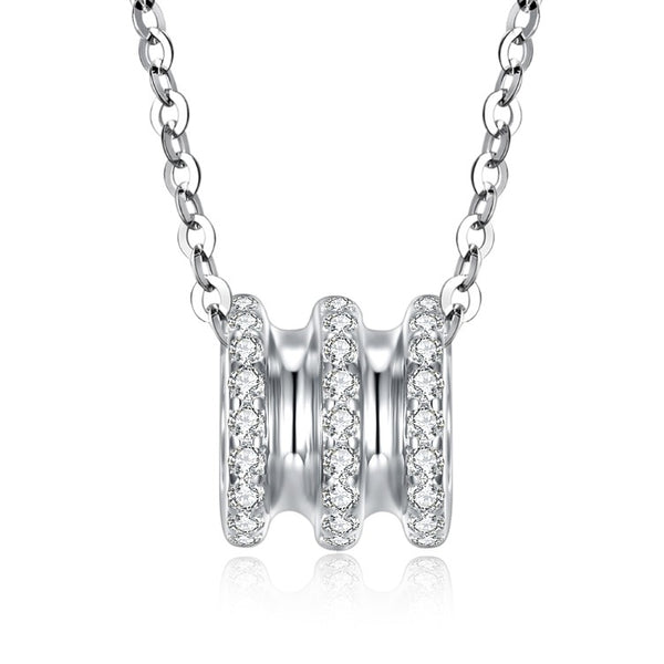 Swarovski Crystal 18K White Gold over Sterling Silver Triple Rib Cage Necklace - Golden NYC Jewelry www.goldennycjewelry.com fashion jewelry for women