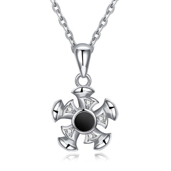 Swarovski Crystal 18K White Gold over Sterling Silver Black Center Necklace - Golden NYC Jewelry www.goldennycjewelry.com fashion jewelry for women