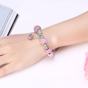 Light Pink Magnetic Clasp Bracelet in 18K White Gold Plated