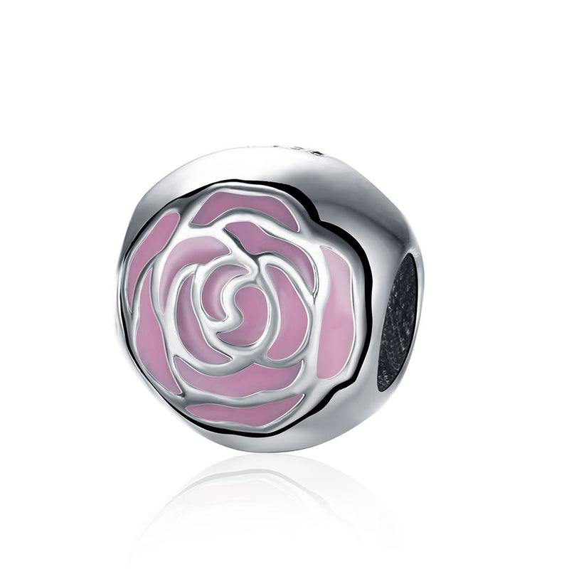 Sterling Silver Pink Daisy Floral Lining Ingrain Charm - Golden NYC Jewelry www.goldennycjewelry.com fashion jewelry for women