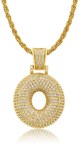 Diamond Created 18K Gold Plated Letter Pendant with Chain - O