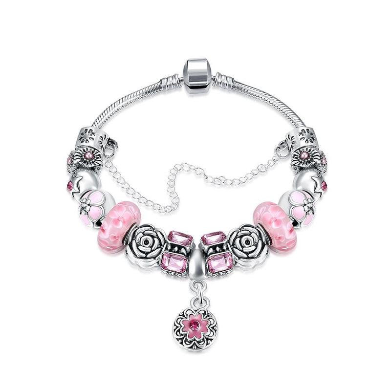 Petite Pink Petite Emblem Pandora Inspired Bracelet, Bracelet, GoldenNYCJewelry, Golden NYC Jewelry fashion jewelry, cheap jewelry, jewelry for mom,
