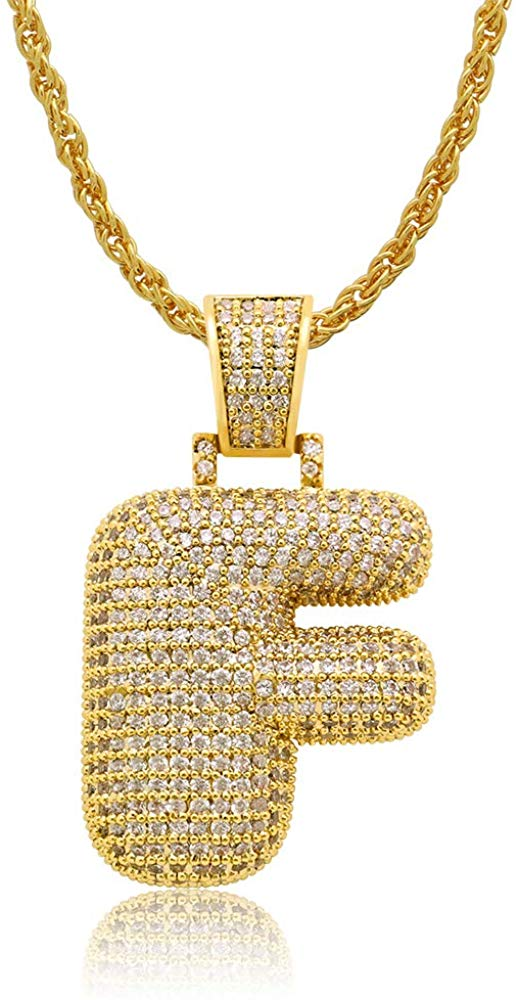 Diamond Created 18K Gold Filled Letter Pendant with Chain - F