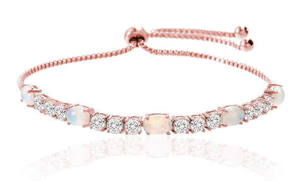 Fiery Opal Tennis Bracelet Made with Swarovski Crystals in Rose Gold - Golden NYC Jewelry www.goldennycjewelry.com fashion jewelry for women