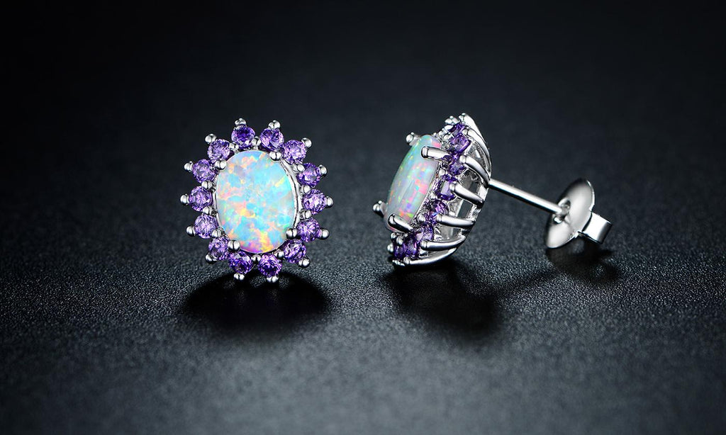 0.25 CTTW White Fire Opal and Amethyst Stud Earrings in 18K White Gold, Earring, Golden NYC Jewelry, Golden NYC Jewelry  jewelryjewelry deals, swarovski crystal jewelry, groupon jewelry,, jewelry for mom,