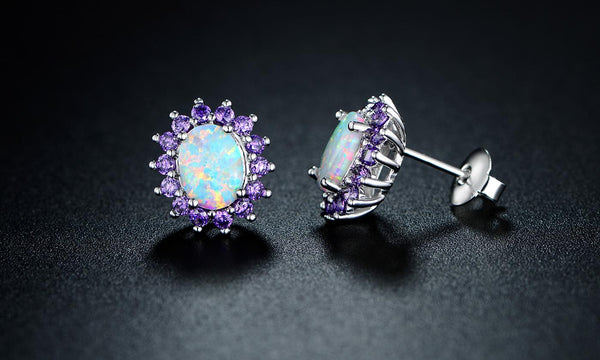 0.25 CTTW White Fire Opal and Amethyst Stud Earrings in 18K White Gold - Golden NYC Jewelry www.goldennycjewelry.com fashion jewelry for women