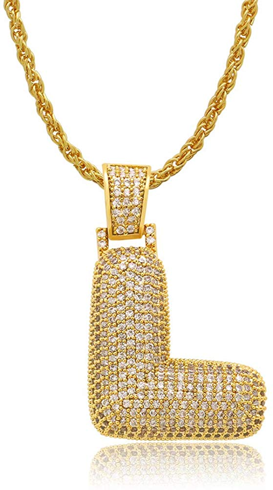 Diamond Created 18K Gold Filled Letter Pendant with Chain - L
