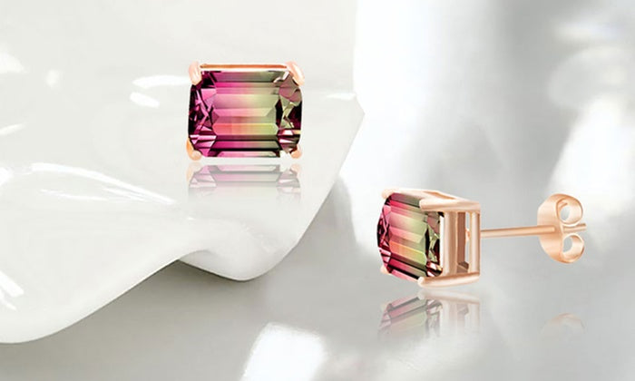 Emerald Cut Watermelon Crystal Stud Earrings - Golden NYC Jewelry www.goldennycjewelry.com fashion jewelry for women