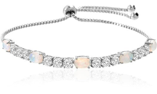 Fiery Opal Tennis Bracelet With Swarovski Crystals - Golden NYC Jewelry www.goldennycjewelry.com fashion jewelry for women
