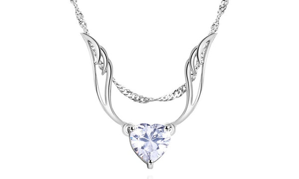 Guardian Angel Wing Necklace Made with Swarovski Crystal