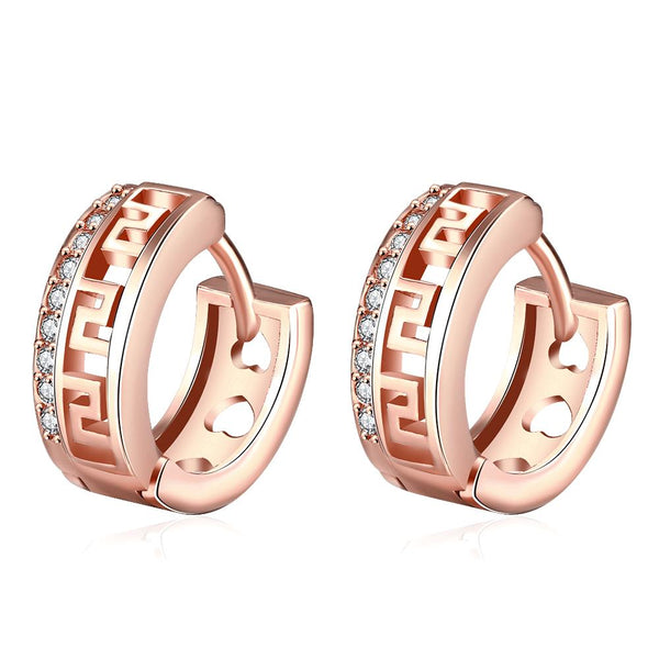 Roman Cut Huggies in Rose Gold, Earring, Golden NYC Jewelry, Golden NYC Jewelry fashion jewelry, cheap jewelry, jewelry for mom,