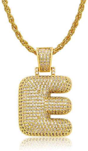 Diamond Created 18K Gold Filled Letter Pendant with Chain - E