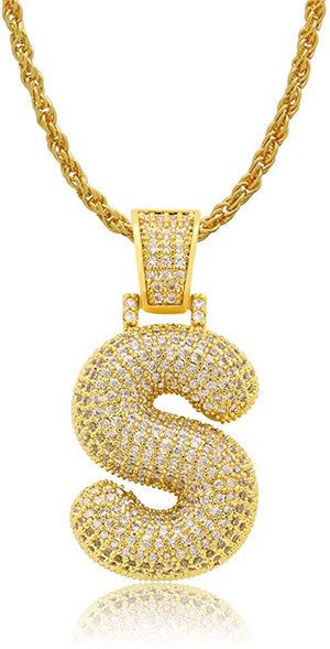 SDiamond Created 18K Gold Filled Letter Pendant with Chain - S