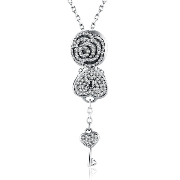 Sterling Silver 2 Piece Necklace- Pave Key