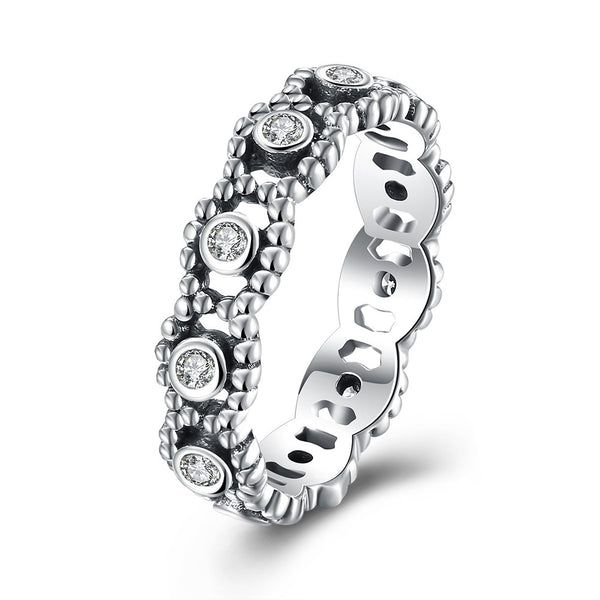 Sterling Silver Pandora Inspired Floral Twist Ring